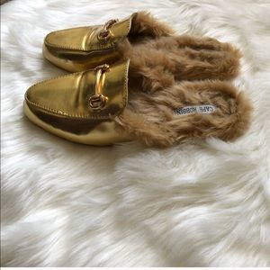 Gold Furry Flat Loafers